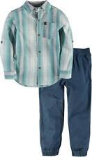 Calvin Klein Boys Plaid Blue Shirt 2pc Pant Set Size 4 5 6 7 $55