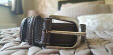 Rossi Men's Brown Belt Genuine Leather Silver Buckle