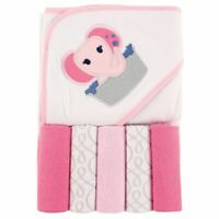 Luvable Friends Girl Hooded Towel with Washcloths, 6-Piece Set, Pink