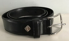 Dalvi Spain Men's Black Stitched Leather Belt With Silver Buckle 42/105