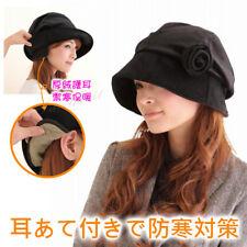 NEEDS Japan Fashion Small Face Floral Brooch Earmuffs Warm Fleece Hats Caps K324
