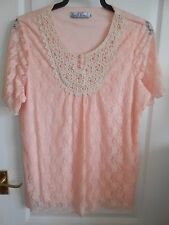 Pure & Natural Peach Lace Detail Beaded Fully Lined Stretch Top size Large