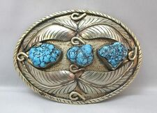 SOUTHWESTERN STERLING BELT BUCKLE W/ 4 FEATHERS & TURQUOISE NUGGETS UNMARKED **