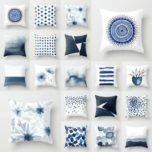 18'' Nordic Cushions Covers Creative Blue Geometric Sofa Pillow Case Home Decor