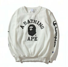 A Bathing Ape BAPE Ape Head Black White Round Collar Coat Sweats Pullover Jacket