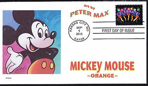 PETER MAX   MICKEY MOUSE   ORANGE   1 OF 5    FDC- DWc  CACHET