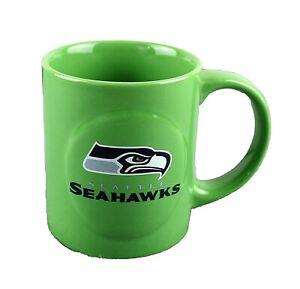 Seattle Seahawks NFL Sculpted Rally Ceramic Coffee Mug Tea Cup 11 oz Green