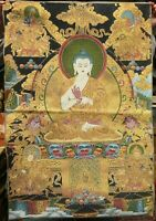 90CM Tibet Cloth Silk Shakyamuni Amitabha Buddha Thangka Tangka Mural Painting