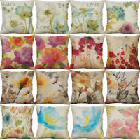 "18"" Flower painting Cotton Linen Cushion Cover Sofa Throw Pillow Case Home Decor"