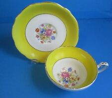 BRIGHT YELLOW & WHITE CUP & SAUCER  PINK & YELLOW FLOWERS EXCELLENT CONDITION