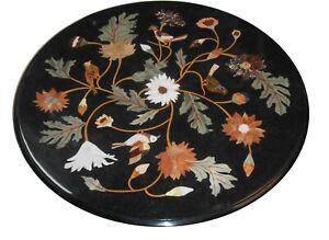 "24"" Marble Table Top Pietra Dura Home And Garden Decor Inlay Work"