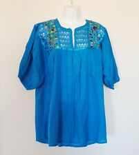Mexican Womens Blouse Sz L Blue Peasant Embroidered Bohemian Hippie Top