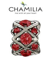 Genuine CHAMILIA 925 sterling silver red SHIMMERING STONES charm bead, RRP £55