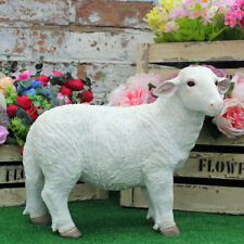 Resin SHEEP White Lamb Farm Yard Animals Patio Sculptures Garden Ornament Statue