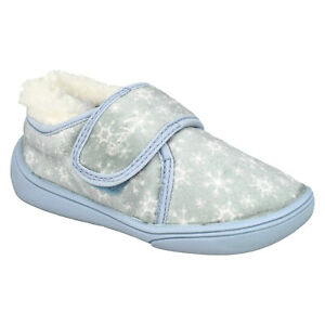 GIRLS CLARKS HOLMLY ICE TODDLER HOOK & LOOP JUNIOR FROZEN HOUSE SLIPPERS SIZE