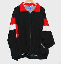 Vintage Champion Full Zip Windbreaker Jacket Spell Out Black Red & White XXL