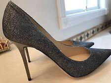 Jimmy Choo NEW MISMATCH  Sizes 39.5 40 Abel Anthracite Glitter Canvas Pump Shoes