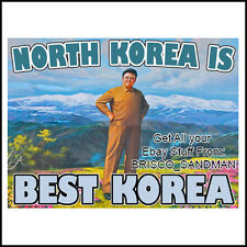 Fridge Fun Refrigerator Magnet NORTH KOREA IS BEST KOREA Propaganda Art Funny