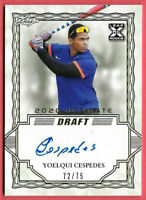 2020 Yoelqui Cespedes Leaf Ultimate Draft Rookie Auto Gold 72/75 - White Sox