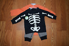 NWT CARTERS BABY Boys Halloween Skeleton Pumpkin 3 Piece Outfit 3 Months
