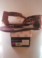 "NIB Rasolli ""Lalo-3"" Women's Sandals Sz 8 Multi Colored Braided Zippered Heels"