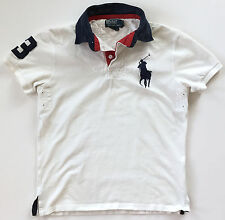 RALPH LAUREN POLO Custom Fit Mens White Big Pony Rugby #3 Shirt Size Small