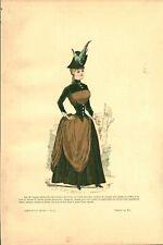 Gravure ancienne 1885 jupe de vigogne pekinée dessin de Hy issue du livre