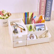 White Office Plastic Desk Pen Pencil Holder Storage Box Drawer Organizer Gifts
