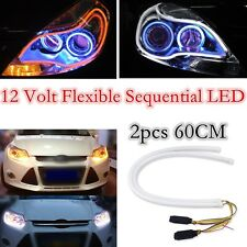 2x 60CM Sequential DRL Flowing Amber Turn Signal Lights LED Strip For Headlight