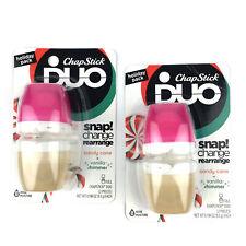 Holiday Chapstick Duo Lip Balm Candy Cane + Vanilla Shimmer .194 oz (2-Pk)
