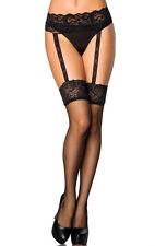 Sexy schwarze Strümpfe & Strapsgürtel aus Spitze in Ein -  One Size