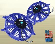 "2x 9"" Universal Slim Fan Push Pull Electric Radiator Cooling Motor Kit Blue"