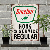 "Sinclair Honk for Service Gas Station Pump Dino Ad Metal Sign Repro 9x12"" 60350"