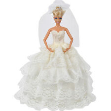 Handmade White Princess Wedding Dress Gown With Veil For  Doll. New.