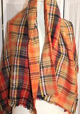 Vinaka Check Wrap Shawl Orange Black Tan Bright Bold Lines NEW Lovely Colors