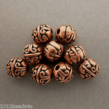 Antique Copper Alloy Metal Oval Beads 14 Pieces  7.5mm x 7.6mm  #0841