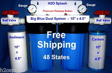 """Big Blue 10"""" Dual (Blue) Whole House Water Filter/1"""" Ports Sediment Carbon H2O"""