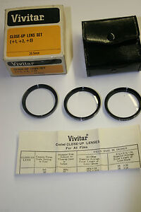 NEW 35.5mm 3 LENS CLOSE UP MACRO LENS SET made in JAPAN by VIVITAR with CASE