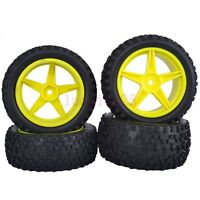 4PCS RC 1:10 Off-Road Buggy Car Front&Rear Wheel Tyre Tires Yellow 66003-66023