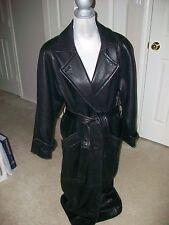 Valerie stevens black lamb Leather trench coat women's size S-M $500