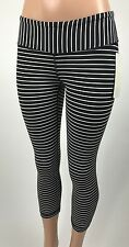 NWT Lululemon Wunder Under Crop 4 Parallel Stripe Blk White Yoga Leggings Capri