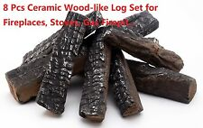 8 Piece Wood-like decorative Ceramic Log Set for fireplaces,stoves, gas firepit
