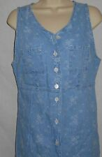 Denim Jumper Dress SMALL Womens 10 Erika Co Blue Sleeveless Embroidered 6r154