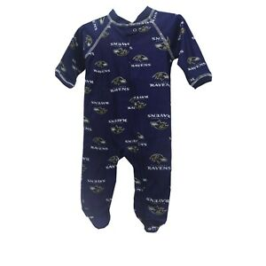 Baltimore Ravens NFL Apparel Baby Infant Size Pajama Sleeper Bodysuit With Tags