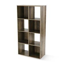 Stylish 8 Cube Storage Organizer Bookcase Home Office Bedroom Den Canyon Walnut