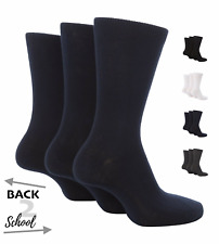 12x Cotton Blend Boys Girls Back to School Ankle Socks in Black Grey Navy White
