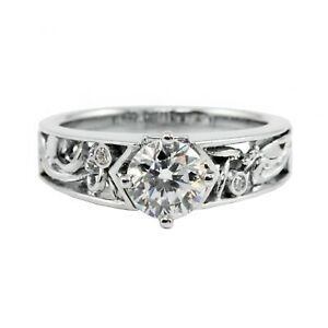 18k White Gold Round Diamond Floral Design Wedding Engagement Ring 6.9g Sz 7.25