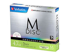 5 Pack Verbatim M-Disc DVD-R for Data 4.7GB 4x Inkjet Printable 1000 Years Life