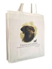 Labrador Chocolate (b) Cotton Shopping Tote Bag Gusset & Long Handles
