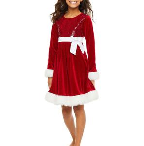 BONNIE JEAN Girls 8, 10, 14, 16 Christmas Sequin Sparkle Velvet Dress NWT $68